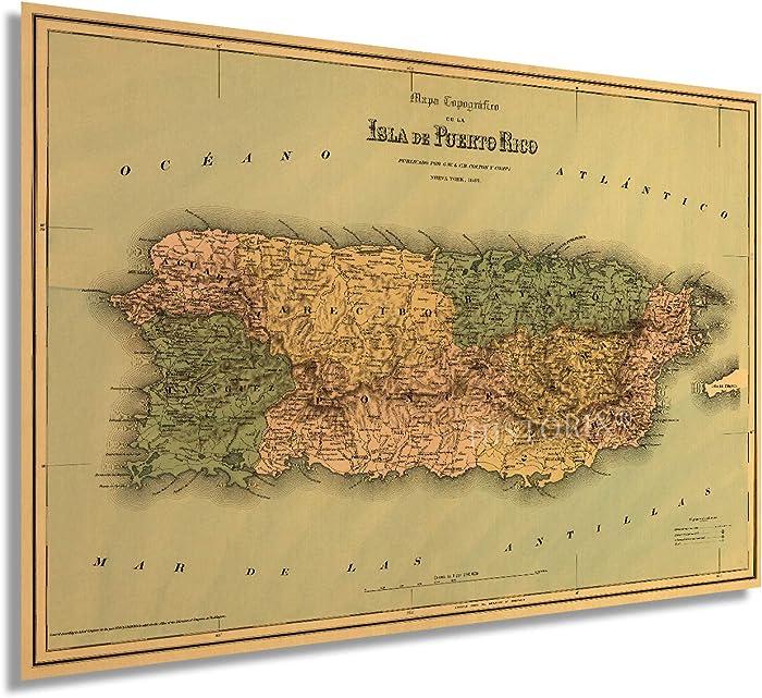 Historix Vintage 1886 Puerto Rico Map Wall Art - 16x24 Inch Mapa topografico de la isla de Puerto Rico - Vintage Map of Puerto Rico Poster - Puerto Rican Artwork For Walls Decor - Old Map (2 Sizes)