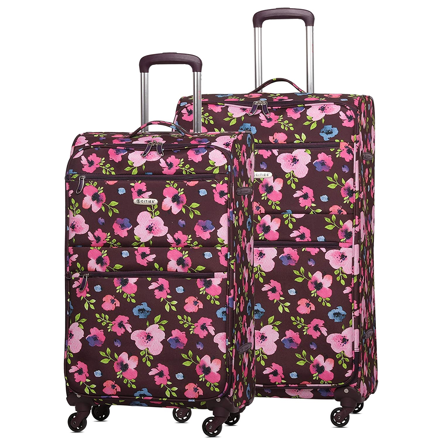 "5 Cities Ultra Lightweight 4 Wheel 2 Piece Luggage Suitcase Set, 21"" Hand Cabin Luggage + Medium 26"" Hold Check in Luggage(Navy Floral)"