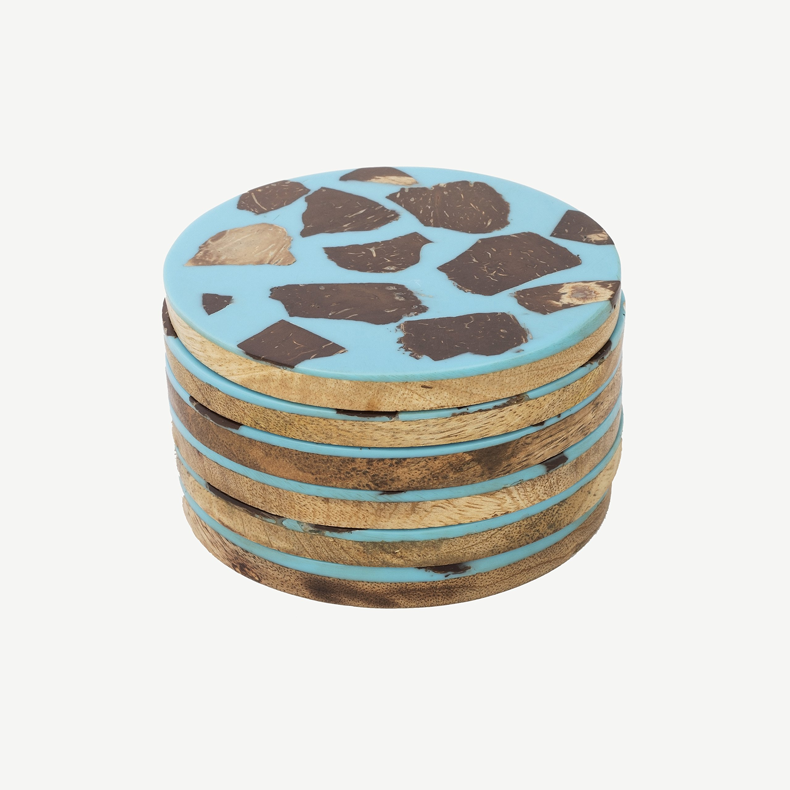 Rusticity Wood Cool Coaster Set of 6, Wood Layered with an Anti Slip Blue Coating of Resin & Coconut Shell   Mango Wood   Handmade   (4x4 in)