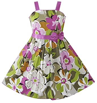 Sunny Fashion Girls Dress Purple Flower Party Pageant Size 6