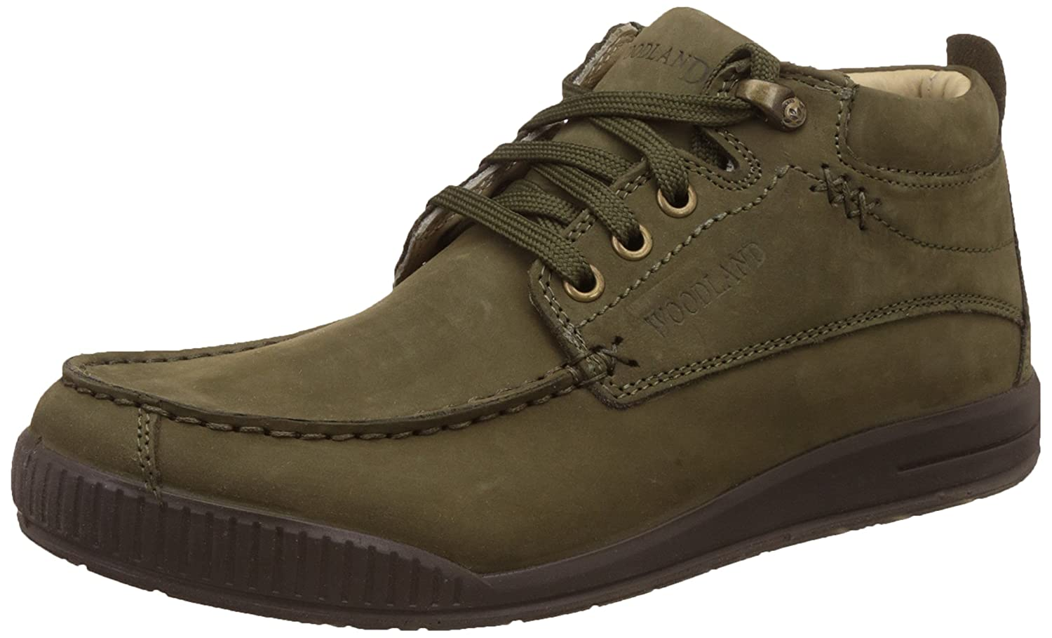 Olive Green Nubuck Leather Sneakers