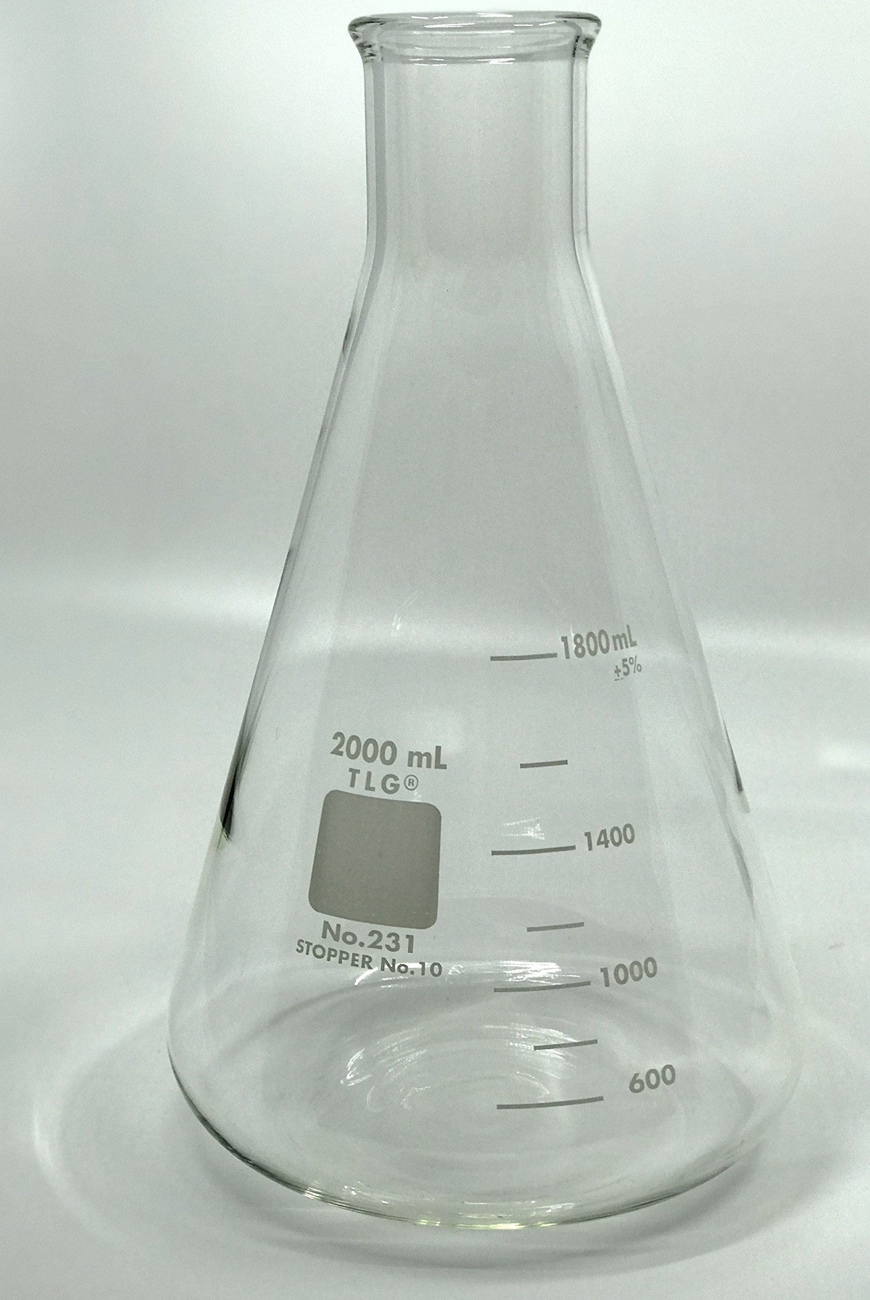 Chem Science INC 231.202.08 Erlenmeyer Flask, Narrow Neck with Graduation, Capacity 2000Ml, Rubber Stopper 10, 2000Milliliters, Degree C, Borosilicate Glass, (