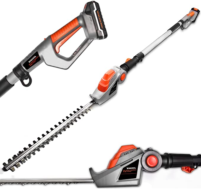 Terratek Extended Reach Hedge Trimmer - Telescopic Extendable Pole
