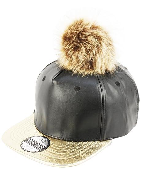 615a8cc88 E-Flag Faux Leather Fur Pom Pom Baseball Cap Strap Back