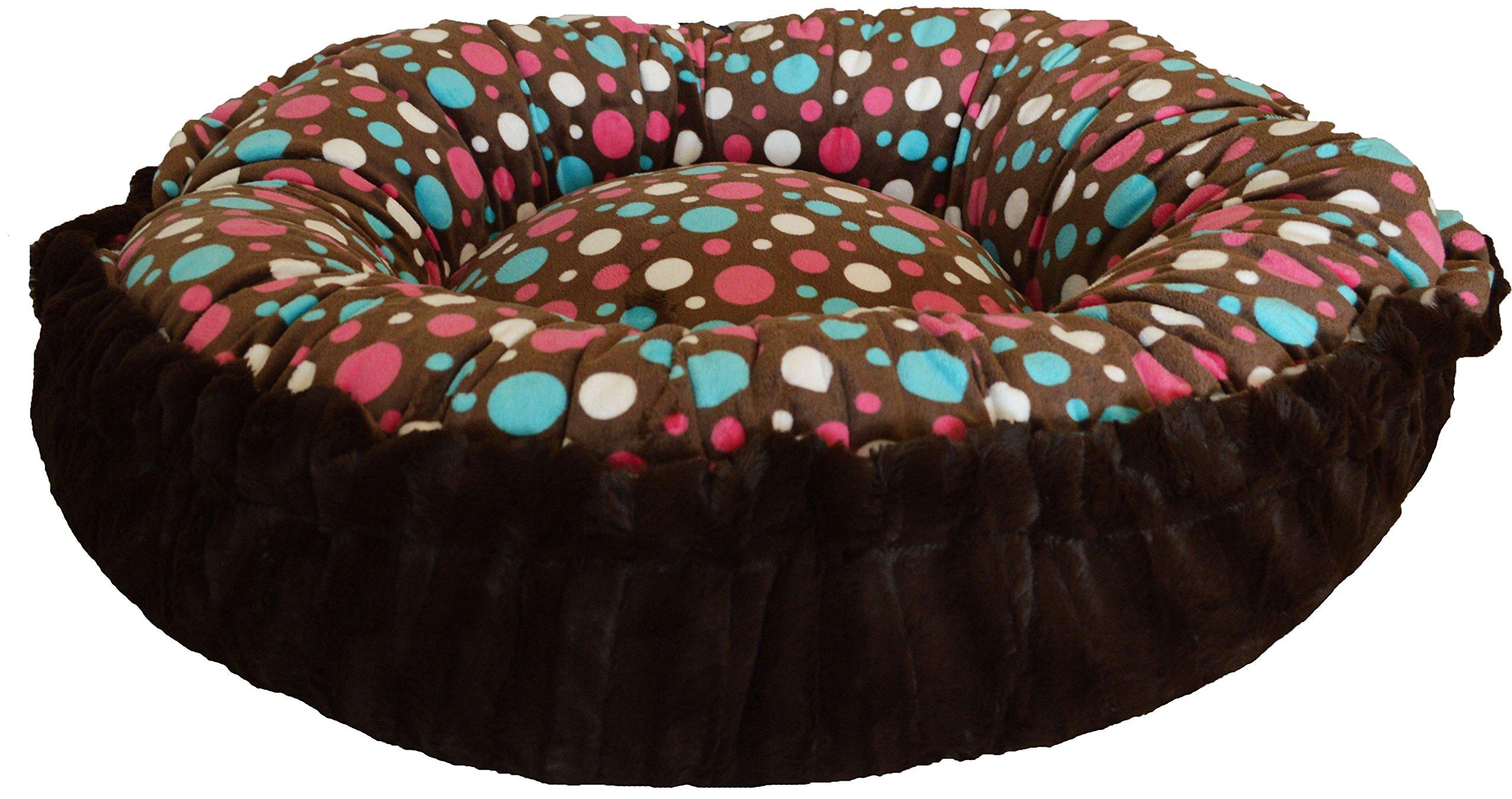 BESSIE AND BARNIE Godiva Brown/Cake Pop Luxury Shag Ultra Plush Faux Fur Bagelette Pet/Dog Bed (Multiple Sizes)