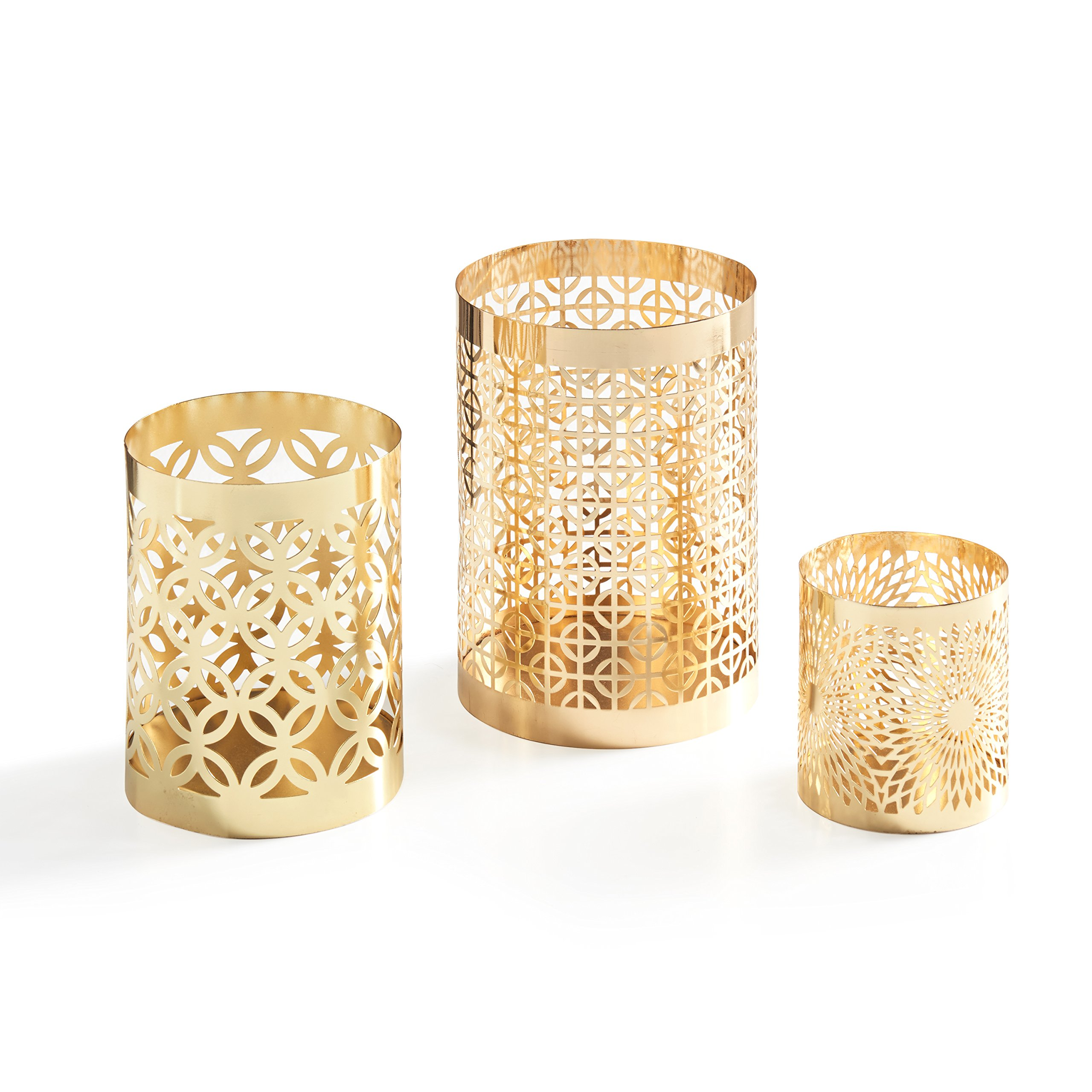 Danya B. KF1608GLD Home Accents - Metal Filigree Hurricane Candle Holders - Various Sizes and Patterns (Set of 3) - Gold