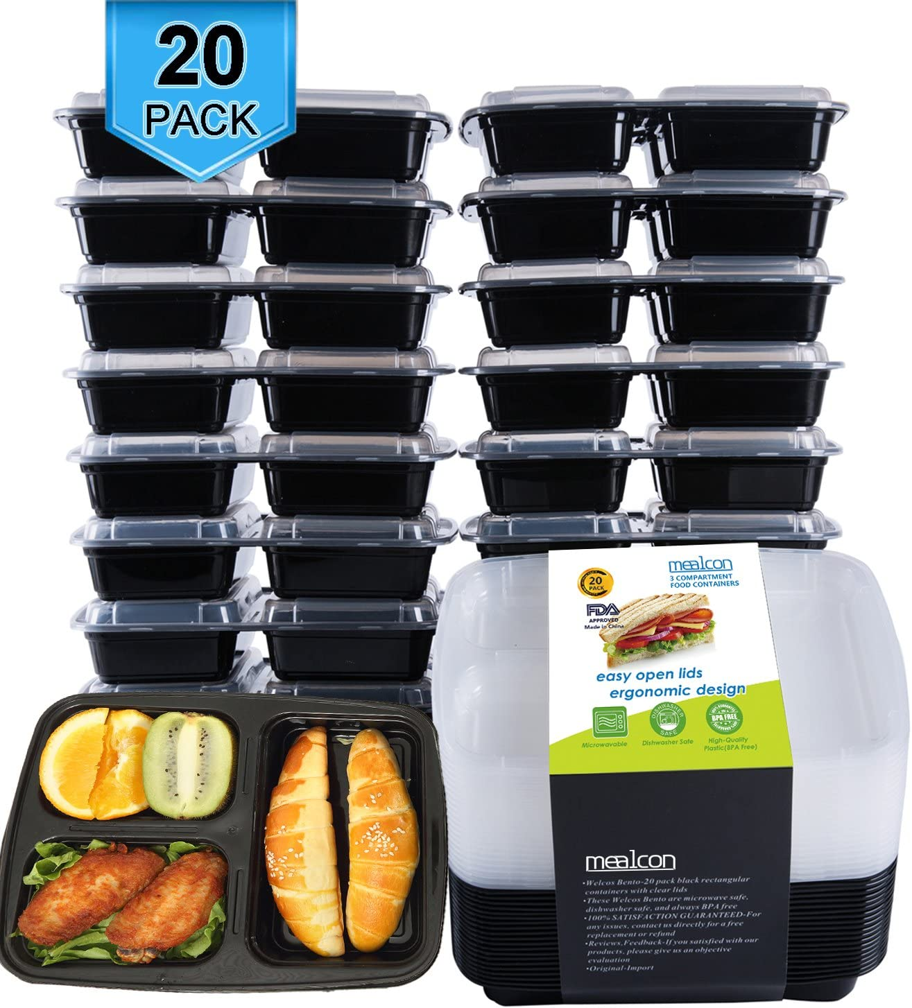 WADAM 3 Compartment Meal Prep Food Container Bento BPA Free Microwave Safe 52oz