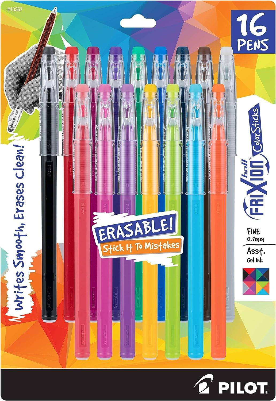 PILOT FriXion ColorSticks Erasable Gel Ink Stick Pens, Fine Point, Assorted Color Inks, 16-Pack (10367)