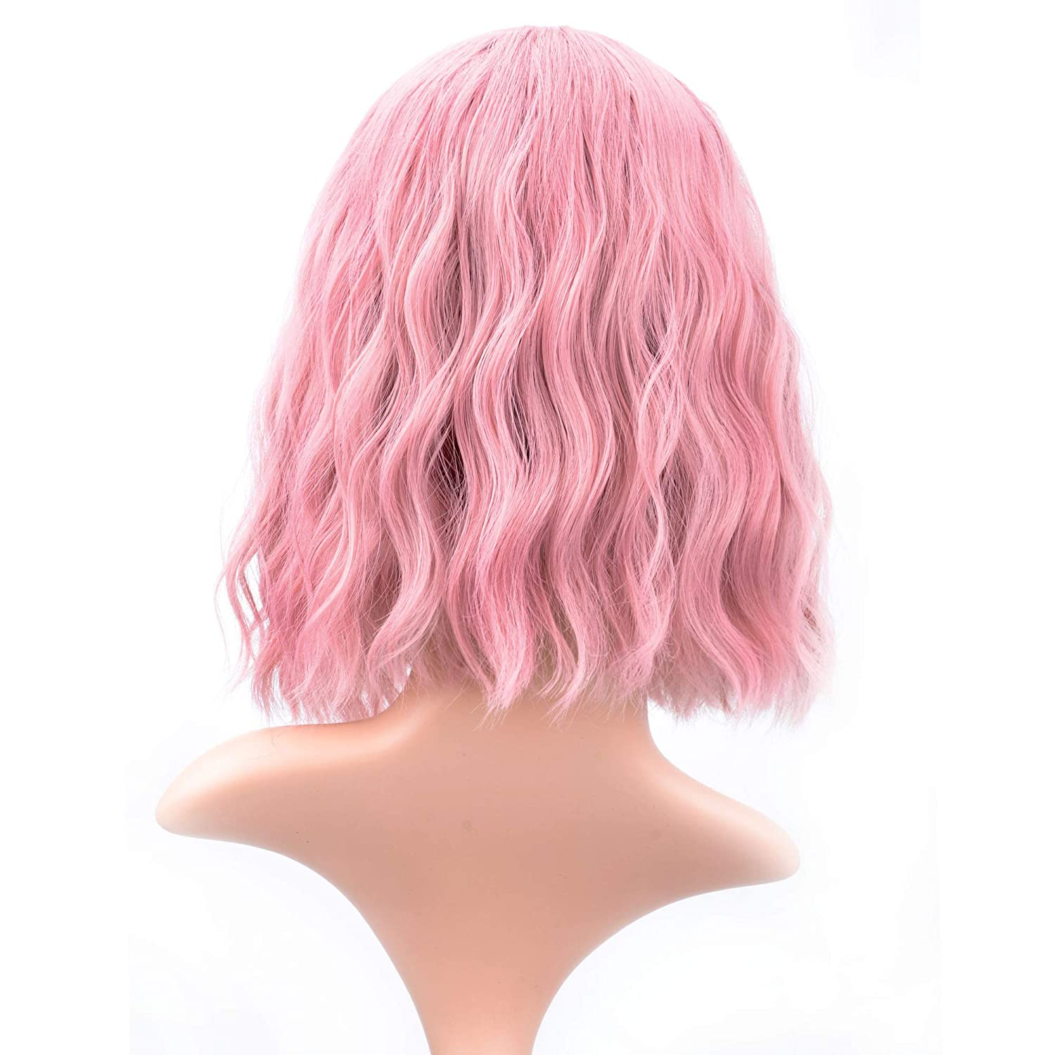 12'' Short Bob Pink Wig, Pastel Wavy Wig Cosplay Wig With Air Bangs - Pink