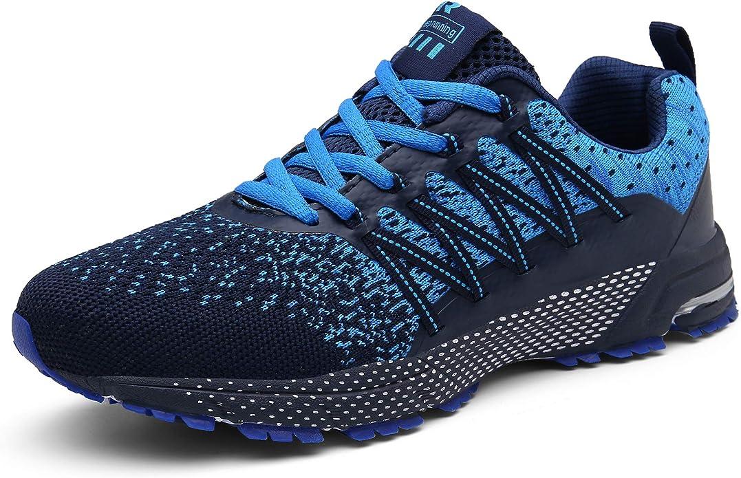 SOLLOMENSI Zapatillas de Deporte Hombres Mujer Running Zapatos para Correr Gimnasio Sneakers Deportivas Padel Transpirables Casual Montaña 46 EU F Azul: Amazon.es: Zapatos y complementos