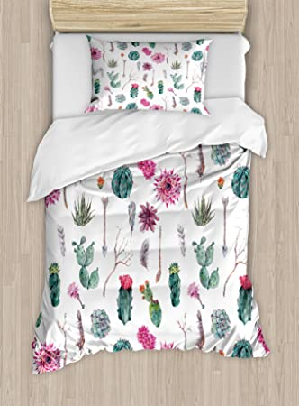 Cactus Decor Duvet Cover Set by Ambesonne, Vintage Botanical Pattern Arrows Feathers Succulent Twigs Hawaii