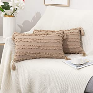 Tiaronics Set of 2 Boho Bedding Cotton Linen Throw Pillow Covers with Tassels, Decorative Throws Cushion Covers for Couch Sofa Bed Farmhouse (Light Beige, 1220