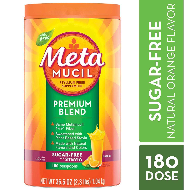 Metamucil Fiber, Premium Blend, Psyllium Fiber Powder Supplement, Sugar-Free with Stevia, Natural Orange Flavor, 180 Servings, 36.5 Ounce