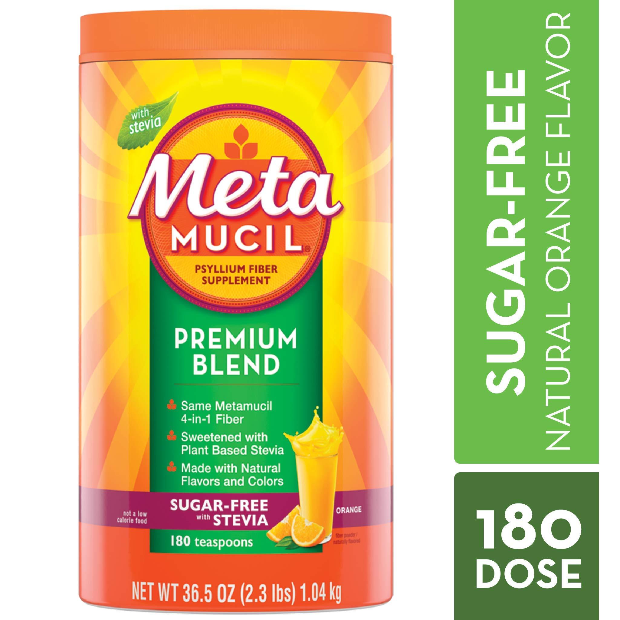 Metamucil Fiber, Premium Blend, Psyllium Fiber Powder Supplement, Sugar-Free with Stevia, Natural Orange Flavor, 180 Servings, 36.5 Ounce by Metamucil