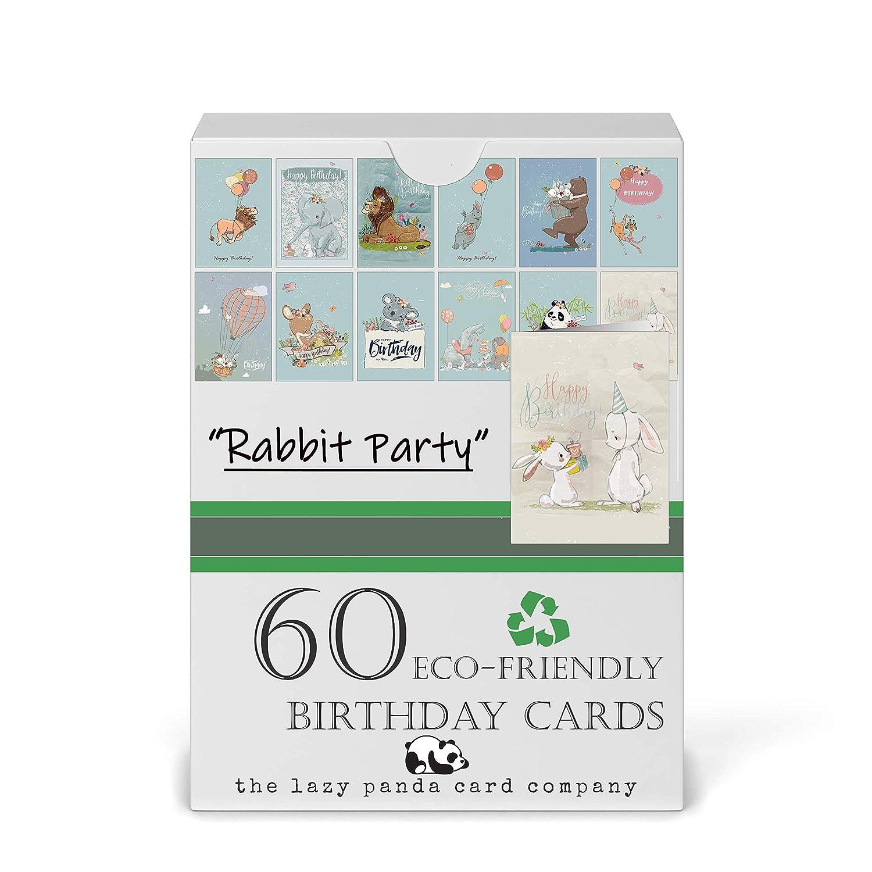 60 tarjetas de cumpleaños ecológicas - 60