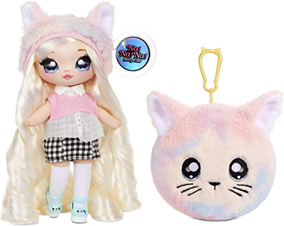 MGA Entertainment Na Na Na Surprise 2-in-1 Paula Purrfect Fashion Doll & Plush Purse Series 4 – Soft Wallet Bag Pouch Gifts for Kids Girls Key Chain Pom