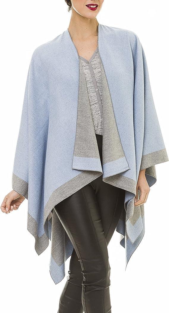 MELIFLUOS DESIGNED IN SPAIN Poncho Estola Capa para Mujer: Chal Elegante para Primavera Otoño e Invierno (Azul Claro y Gris): Amazon.es: Ropa y accesorios