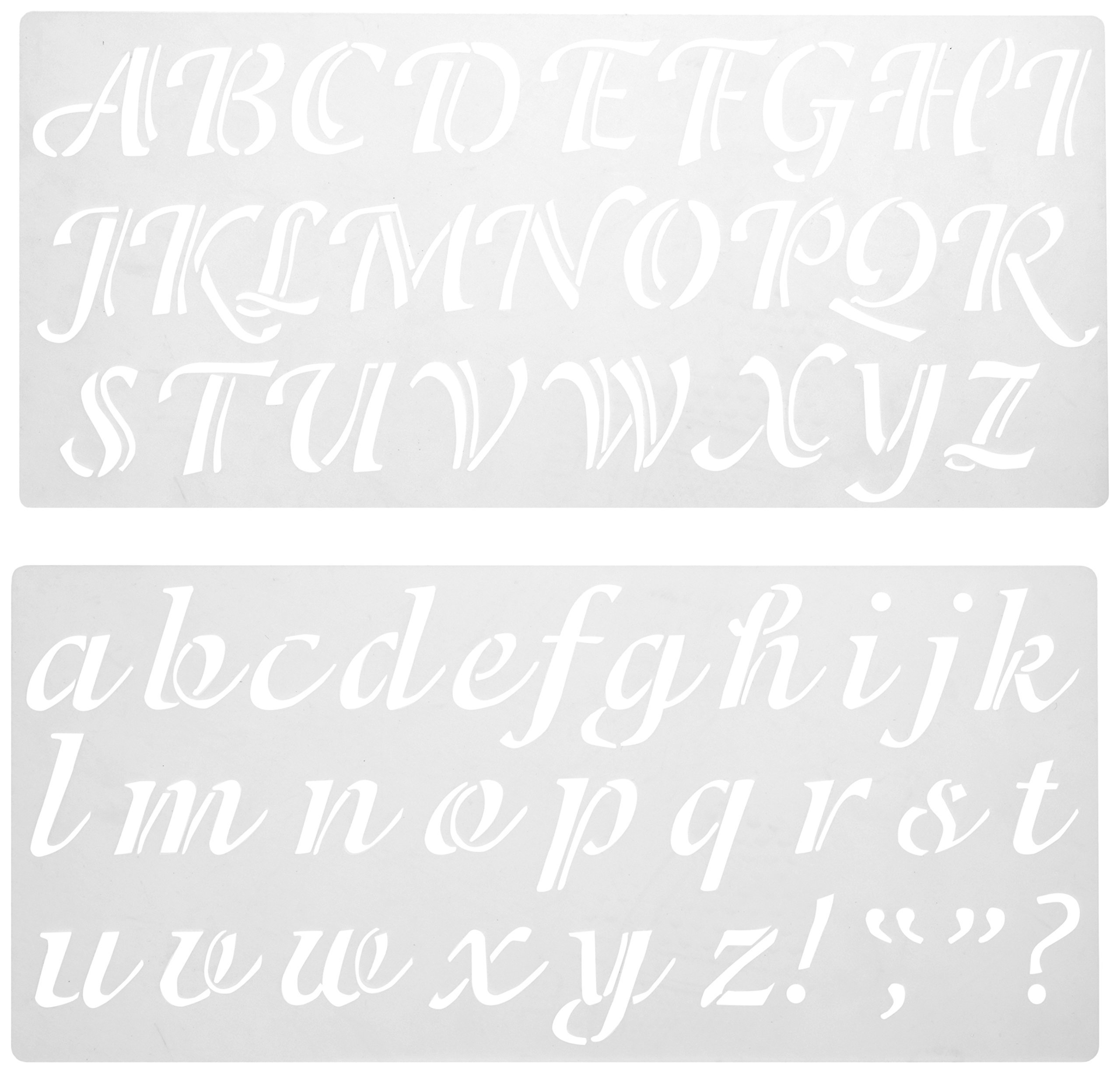 Darice 121724 Calligraphy Font Upper and Lower Case Alphabet Stencil, 2-Inch by Darice