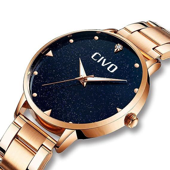 CIVO Relojes para Mujer de Acero Inoxidable Impermeable Relojes de Pulsera Señoras Chicas Adolescentes Fresco Moda