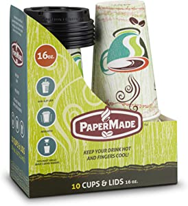 [16 Oz 10 Count] PaperMade Disposable Insulated To Go Designed Hot Cups With Black Dome Lids, For Drinking Coffee, Tea, Or Any Hot Beverage, Throw Away, Travel, Spill Free, Great For Home Or Cafe