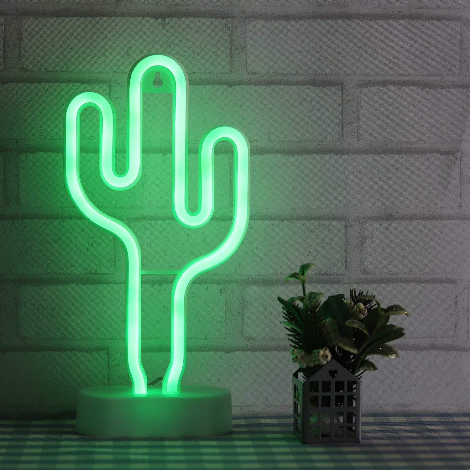 VSLIFE Cactus Neon Light Green Wall Decor Signs For Bedroom Kids With Table Stand Battery And USB Powered Night Home Decoration NECAC