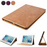 iPad 9.7 Leather Case,Dingrich Retro Genuine Leather Folio Stand Case with Auto Sleep Wake Up Feature for New iPad 9.7 inch 5th Generation - Brown (NOT for iPad Pro 9.7)