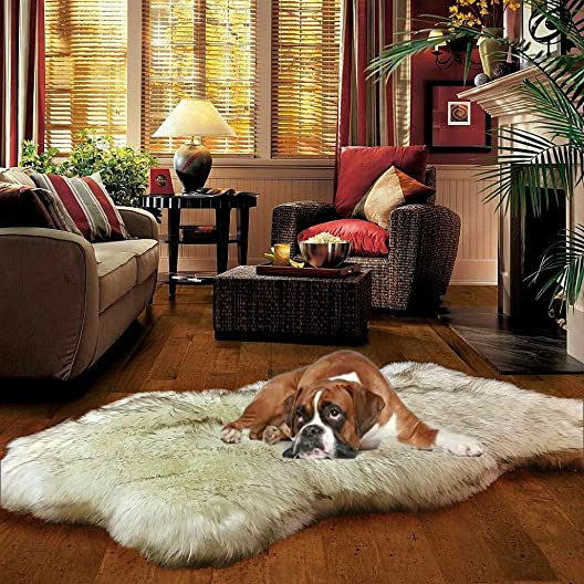 Fur Accents Thick Luxury Fur Throw Rug – DogNapper Dog Bed – Off White Russian Wolf Fur with Brown Tips – Super Thick – Padded – Two Sided – Exclusive – Cruelty Free Designer Rugs Throws 5 x7