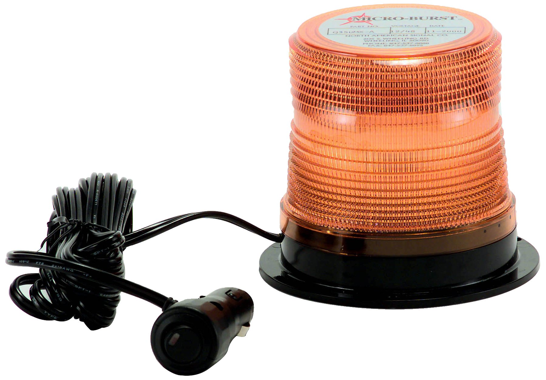 North American Signal LEDQ375MX-A Class 1 LED Beacon with Magnetic Mount, 12/24V, Amber