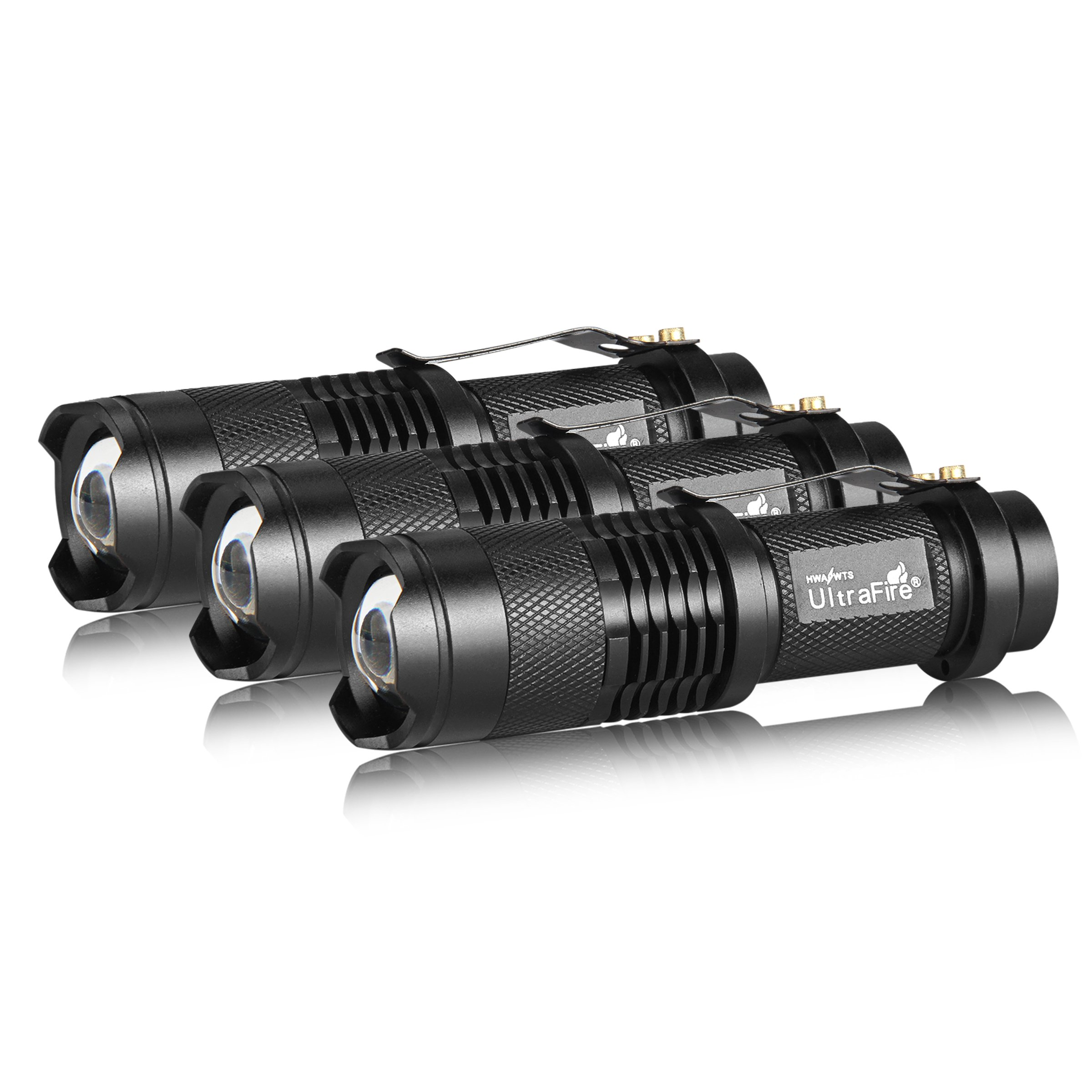3 Pack UltraFire Mini Flashlights Focus Adjustable SK68 Single Mode Tactical LED Flashlight, Ultra Bright 300 Lumens Torch by ULTRAFIRE (Image #2)