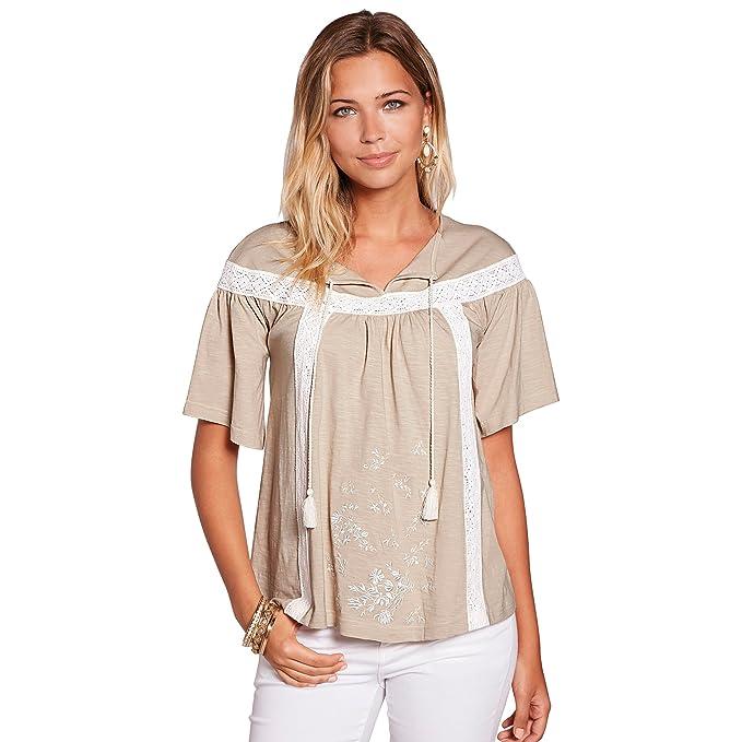 VENCA Camiseta Escote Caftán con Cordón y Borla by Vencastyle,Beige,S