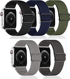 5 Pack - G.P Stretchy Nylon Solo Loop Bands Compatible with Apple Watch 44mm 42mm, Adjustable Stretch Braided Sport Elastics Women Men Strap Compatible with iWatch Series SE 6/5/4/3/SE,7/8