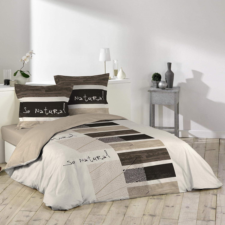 Douceur D'Intérieur So Natural - Juego con funda de edredón y 2 fundas de almohada, algodon, estampado, 240 X 220 cm