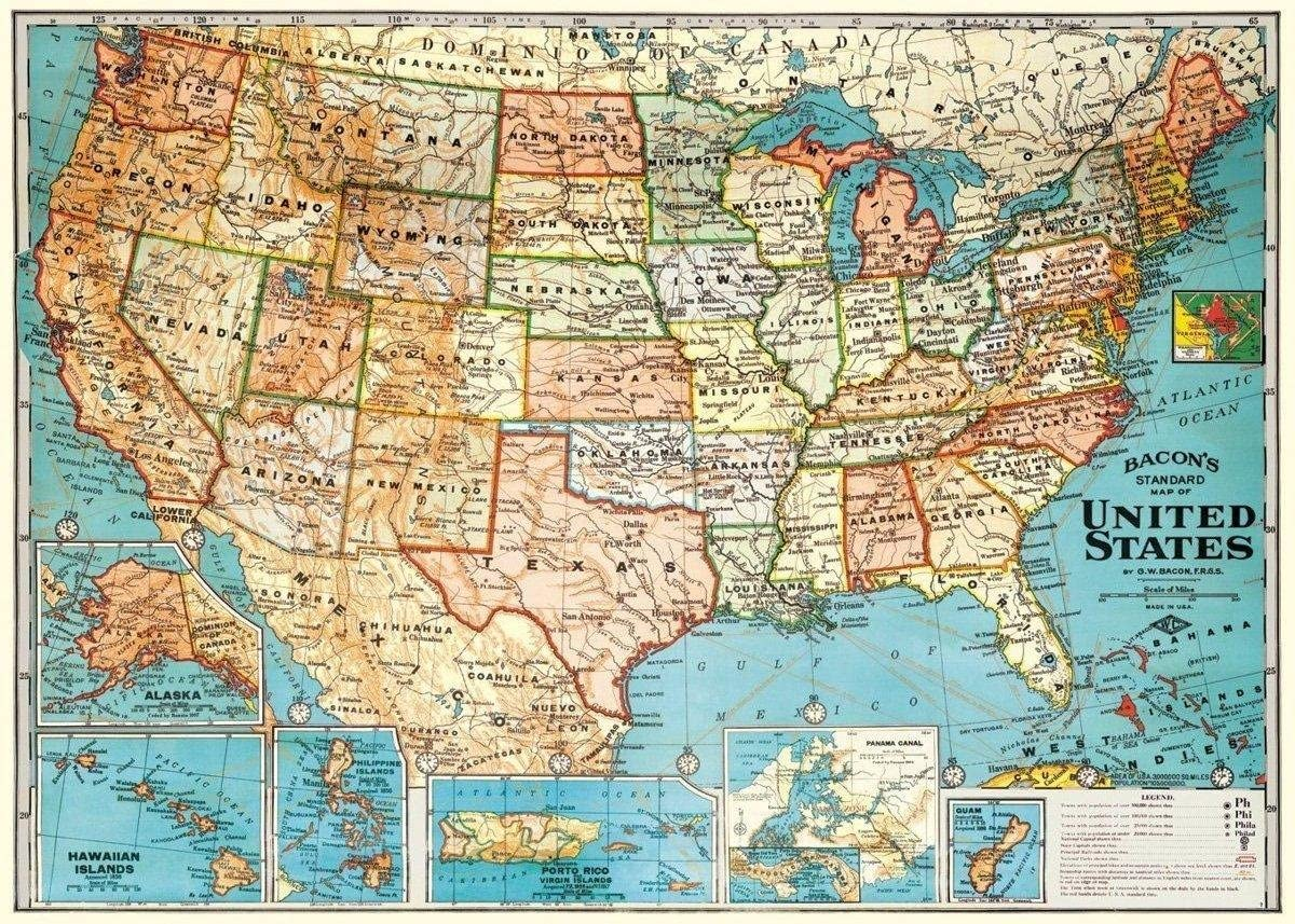 vintage map of united states Amazon.com: Decorative Wrap 20X28 USA Map