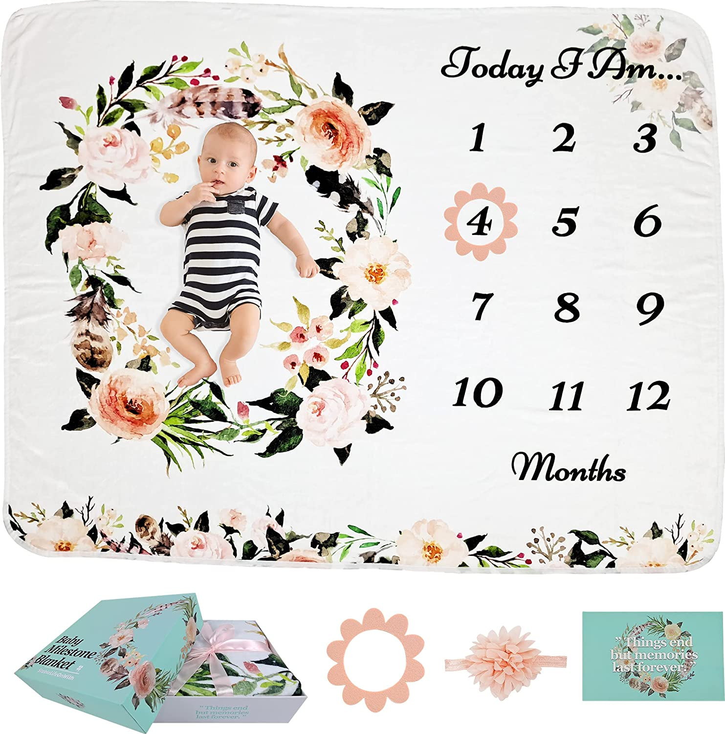 StableLifeOnWith Baby Monthly Milestone Blanket Girl or Boy - Baby Shower - Nursery Decor & Swaddle - Floral Blankets for Newborn Photo