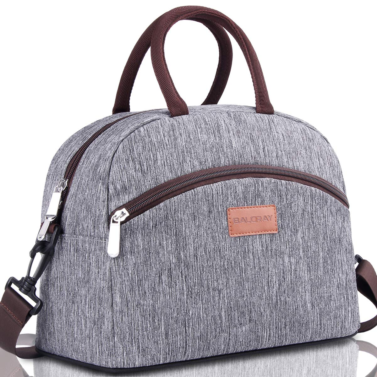 BALORAY Lunch Bag for Women and Men Lunch Box with 2 Side Zip Pockets Detachable Shoulder Strap & Carry Handle Reusable Lunch bag Eco-friendly Cooler Bag Insulated Lunch bags(Grey) by BALORAY