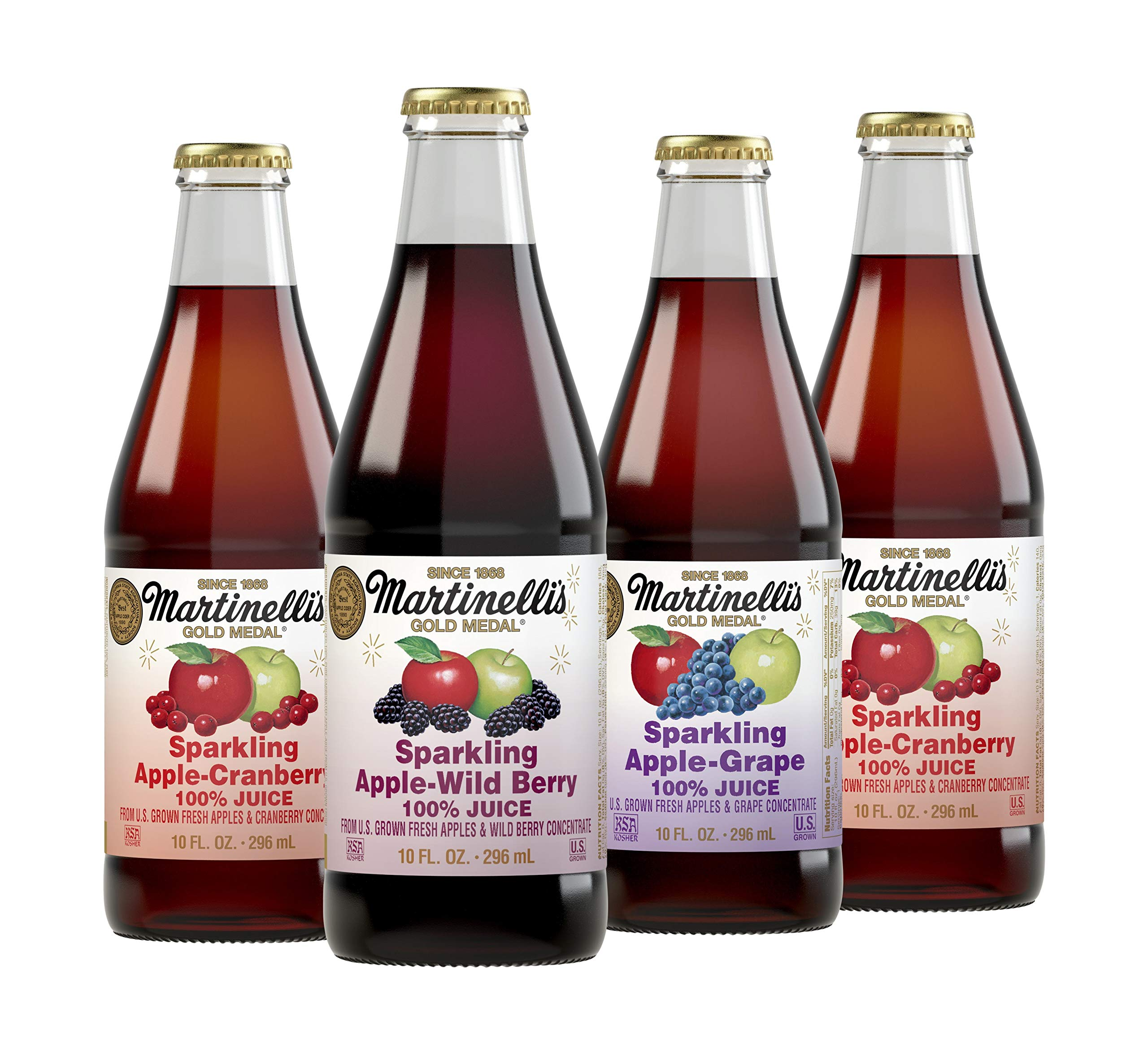 Martinelli's 10 oz. Sparkling Apple Juice Drinks, 3 Flavor Variety Pack, | Apple Grape Juice, Apple Cranberry, Apple Wild-Berry | Pack of 12 Bottles by Martinelli's