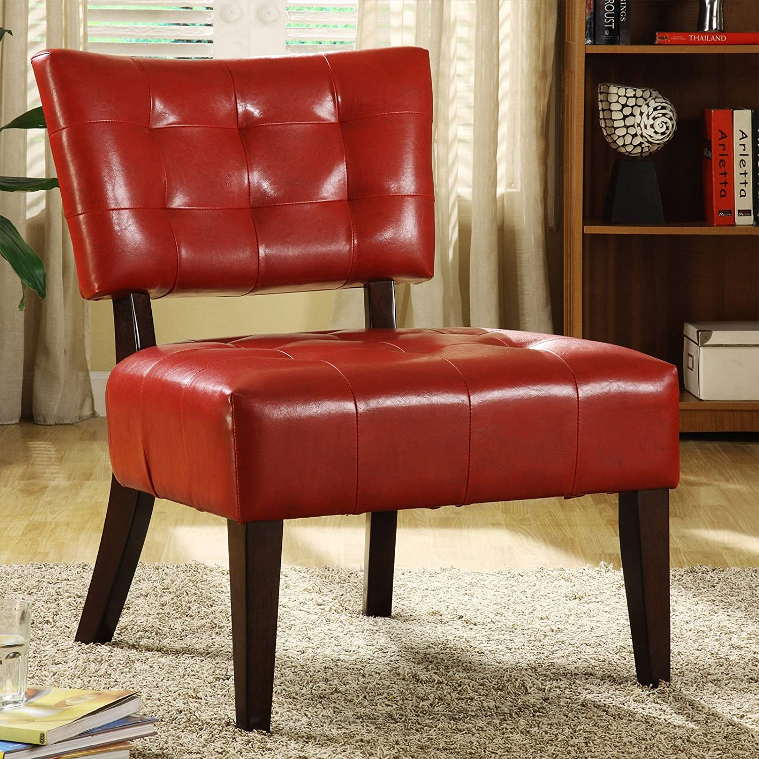 Amazon Metro Shop Tribecca Home Charlotte Red Faux Leather