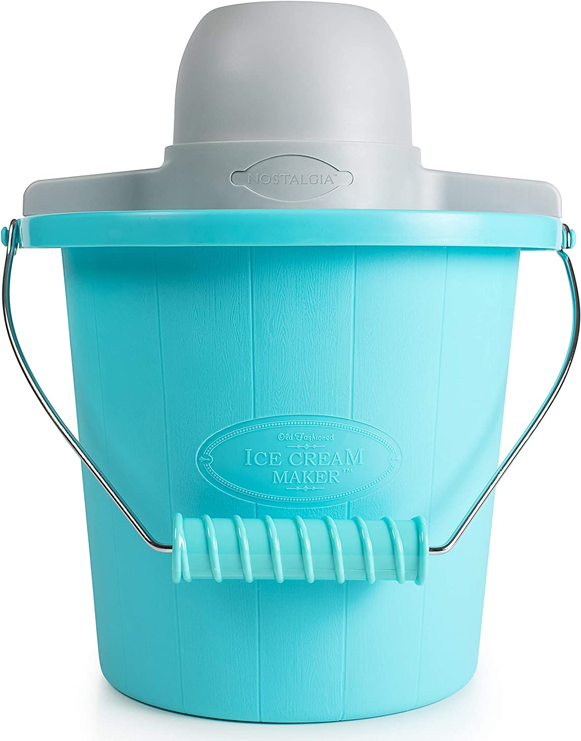 Nostalgia PICM4BG Electric Ice Cream Maker With Easy-Carry Handle Makes 4-Quarts In Minutes, Frozen Yogurt, Gelato Blue