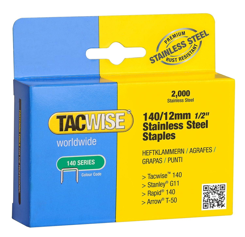 Tacwise1220 Lot de 2000 agrafes en acier inoxydable 140 x 12/mm