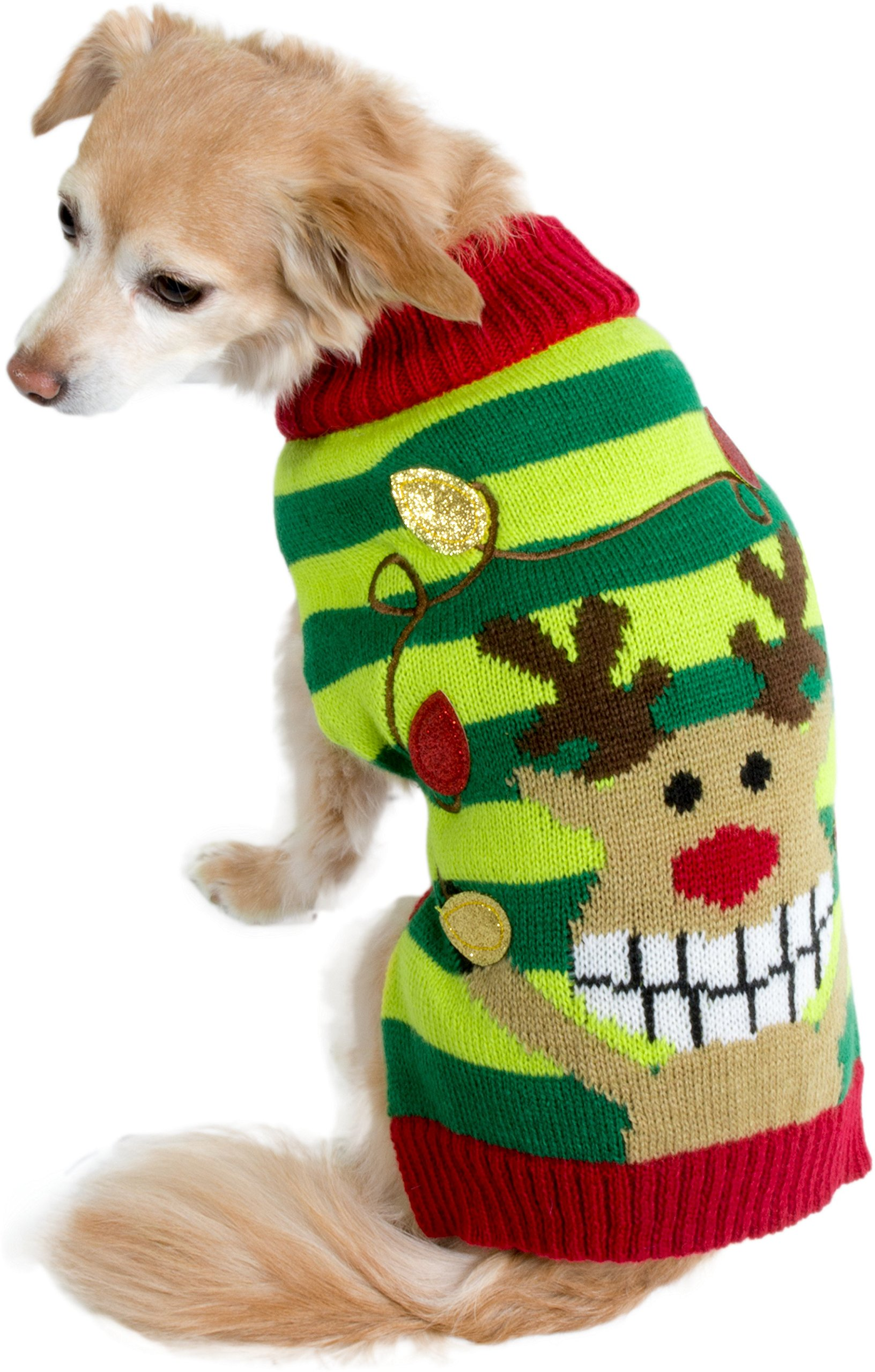 Reindeer Cozy Knit Winter Ugly Sweater Furry Stripe Pet Dog Cat Christmas Clothes Costume Apparel Small