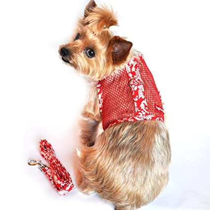 e74b444e5b04 Image Unavailable. Image not available for. Color: DOGGIE DESIGN Cool Mesh  Harness Hawaiian Hibiscus - Red