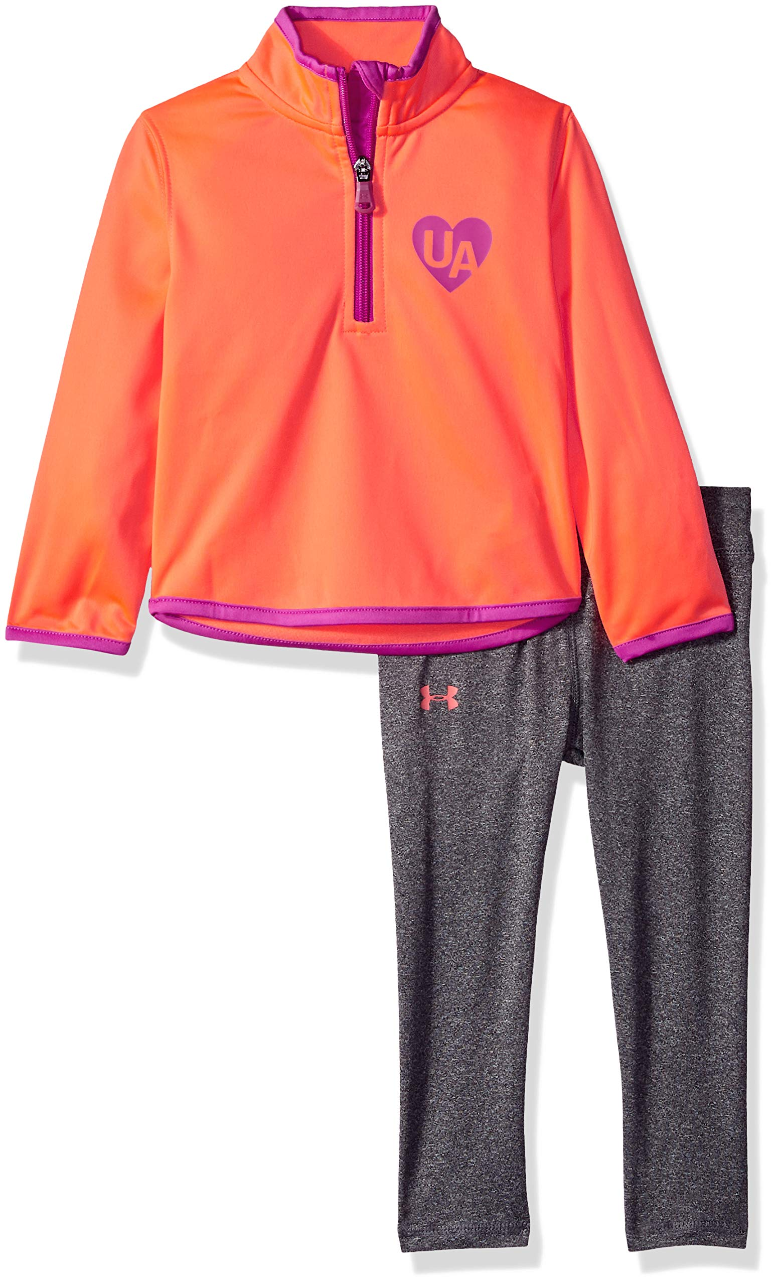 Under Armour Girls' Toddler Track Jacket and Pant Set, After Burn Heartbeat, 2T by Under Armour
