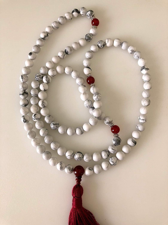 Howlite and Carnelian Mala White and Red, Mala Necklace, Yoga Beads, Handmade by Katog Ratna Ling of Louisiana