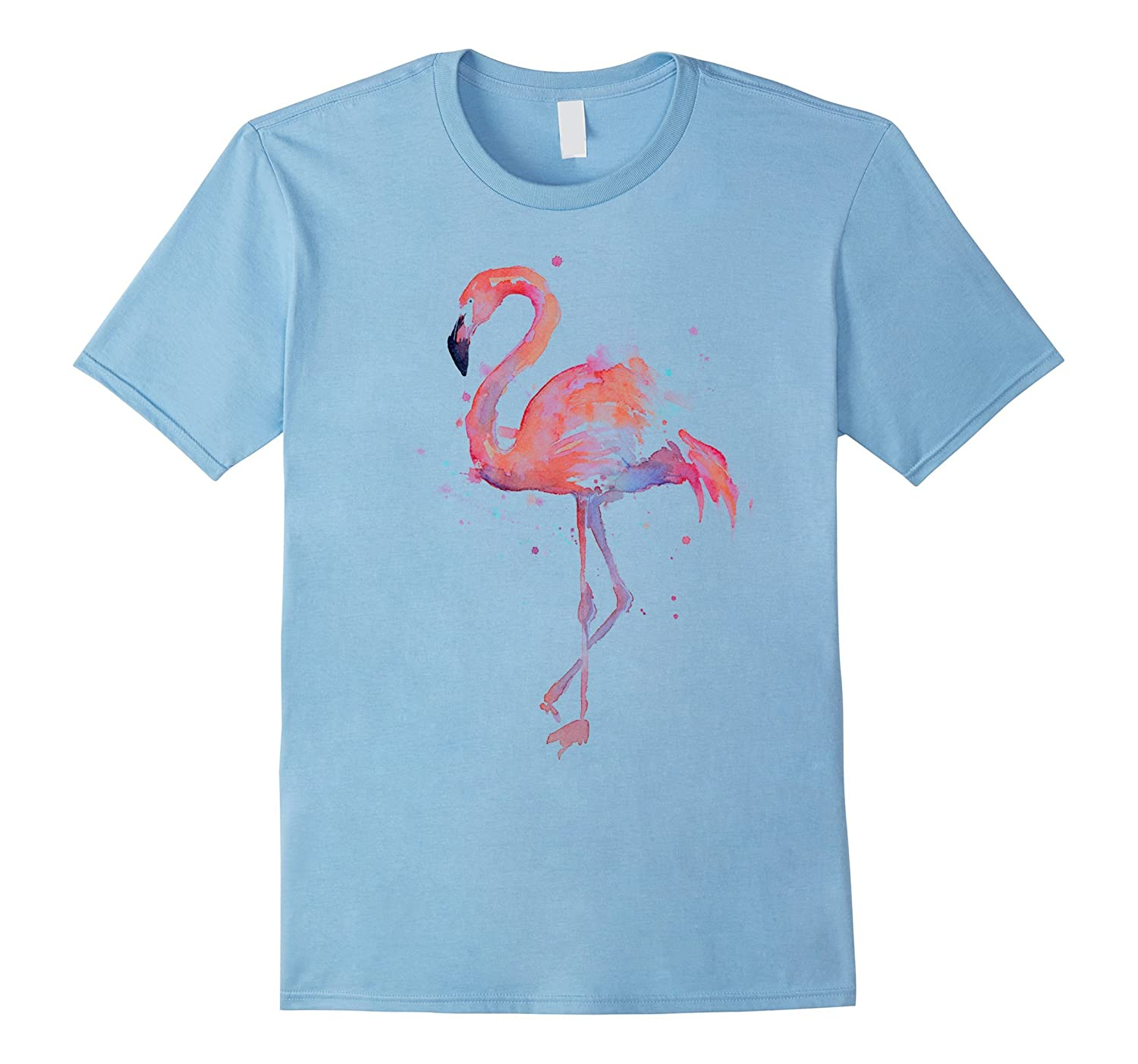 Pink Flamingo Watercolor T-shirt-PL