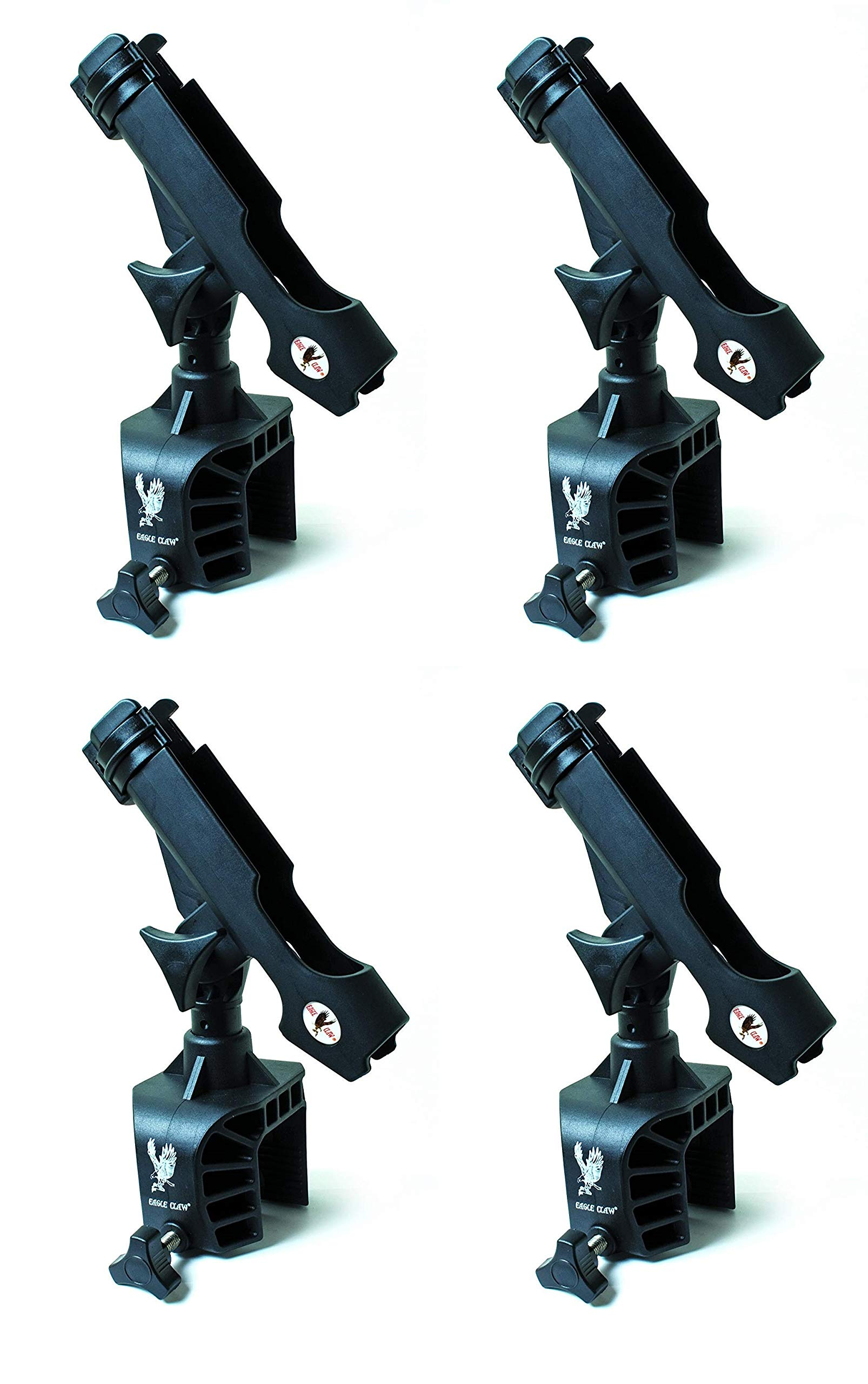 Eagle Claw AABRH Clamp-On Aluminum Boat Rod Holder, Black Finish (Pack of 4) by Eagle Claw