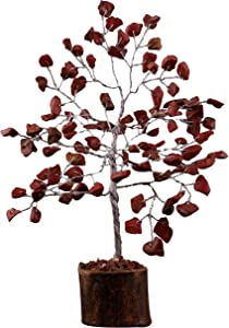FASHIONZAADI Red Jasper Feng Shui Bonsai Money Tree Healing Crystals Gemstone Trees Reiki Stone Good Luck Chakra Crystal Home Office Table Décor Decorative Figurine Gift Size -7-8 Inch (Silver Wire)