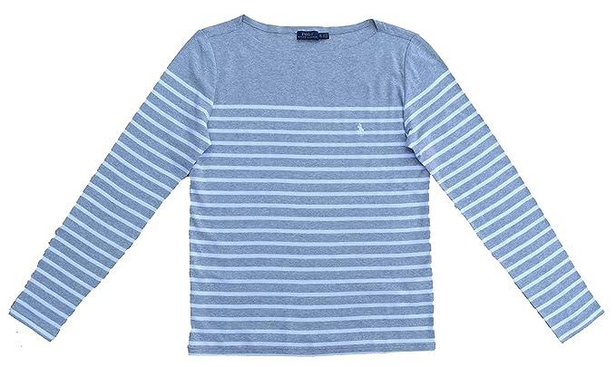 da0d411bdc464d Ralph Lauren T-Shirt Langarm Stripe Grau Weiß gestreift Baumwolle (XL)