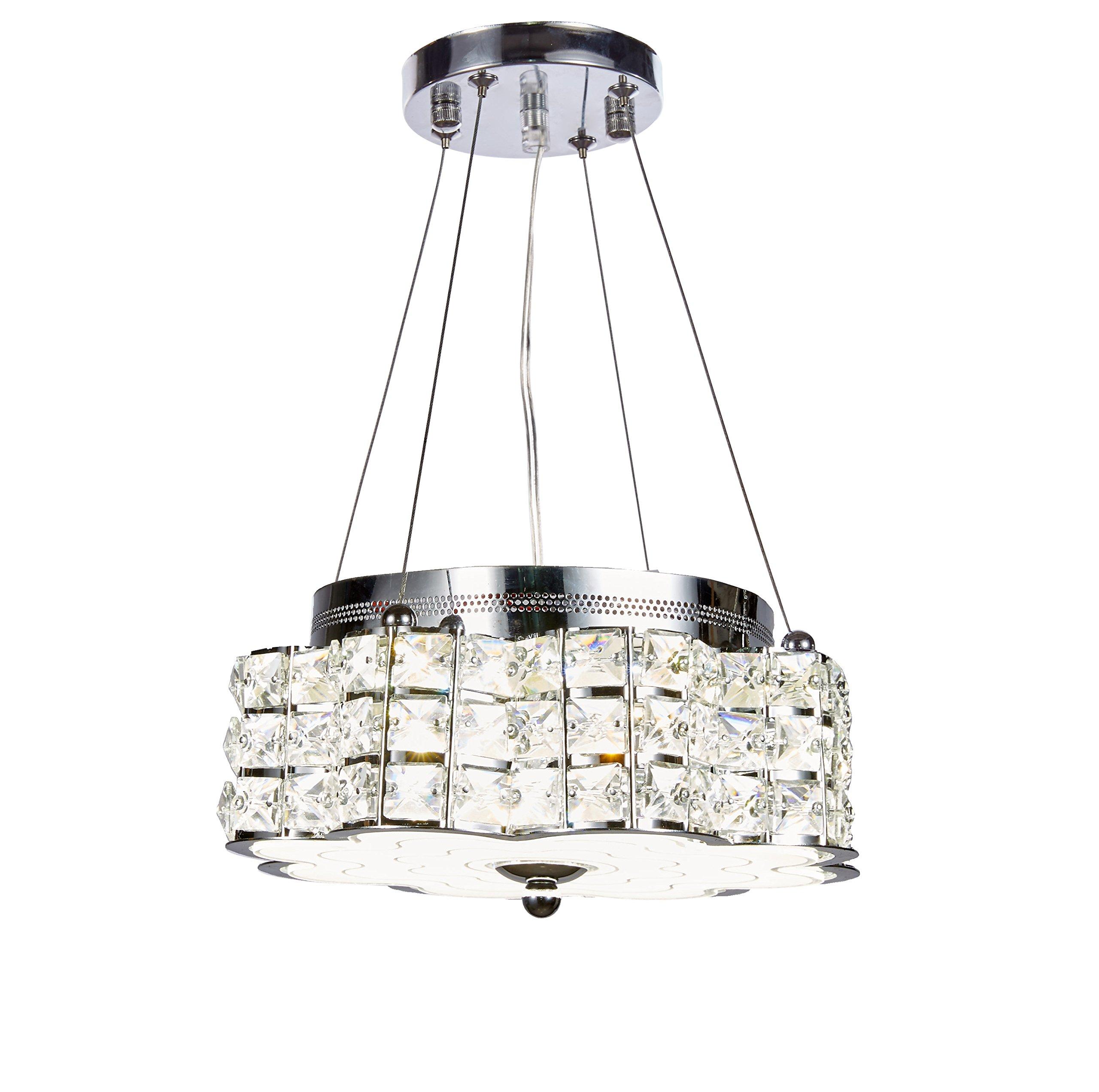 Top Lighting Modern LED Crystal Chandelier Pendant Hanging or Flush Mount Ceiling Lighting Fixture, 3 light colors in one Smart Lamp