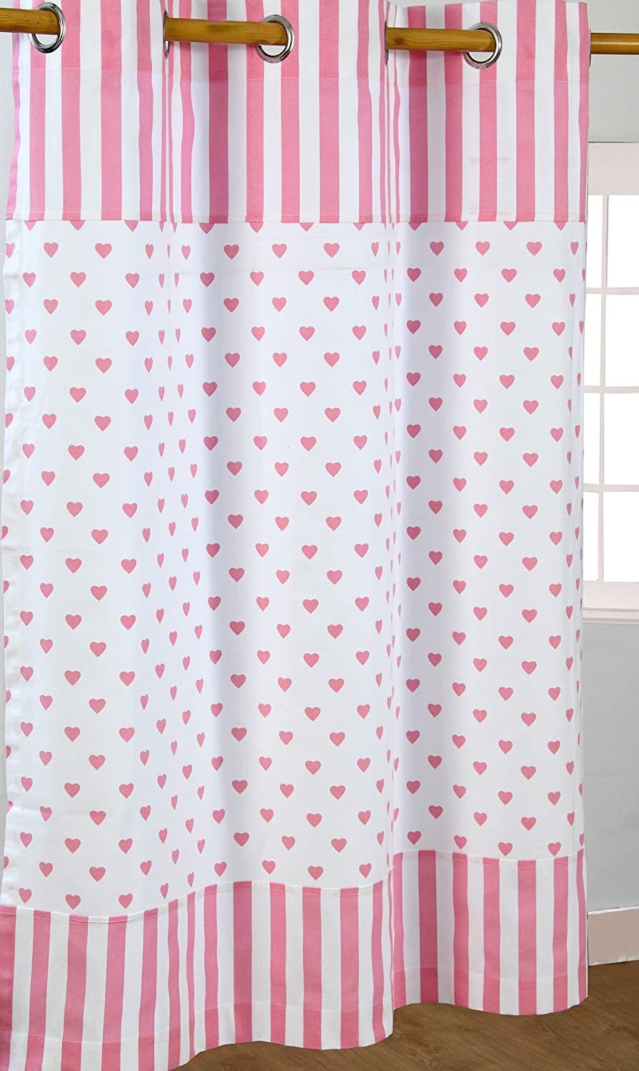 Homescapes Pair of 100% Cotton Ready Made Curtains - Love Hearts ...