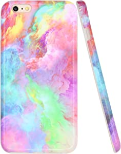 A-Focus Case for iPhone 6s Plus Case for Girls, iPhone 6 Plus Case Pink, Colorful Blue Red Abstract Sky Cloud Smooth Shock Proof Slim Shell Cover for iPhone 6 Plus 6s Plus 5.5 inch Glossy Pink 4